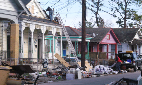 Cleaning up after a natural disaster in the Lower Ninth Ward, New Orleans