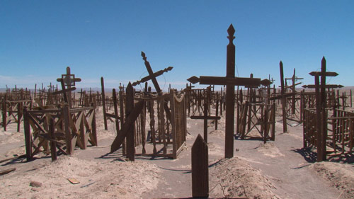 Cemetary with many crosses in the Atacama desert