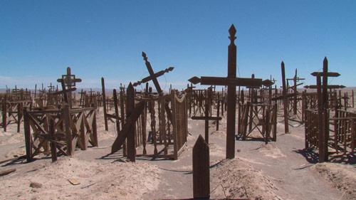 Cemetary with many crosses in the Atacama desert